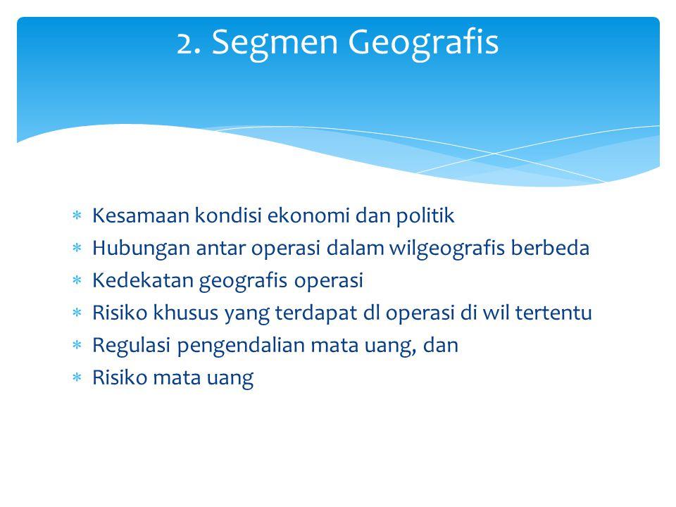 2. Segmen Geografis Kesamaan kondisi ekonomi dan politik