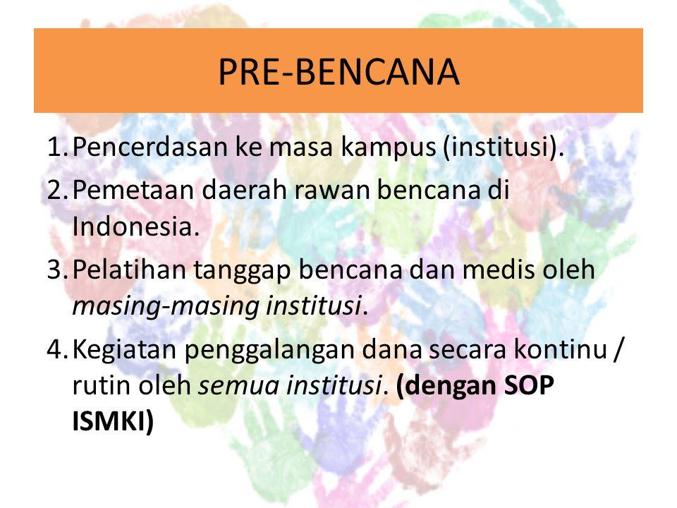 PRE-BENCANA Pencerdasan ke masa kampus (institusi).