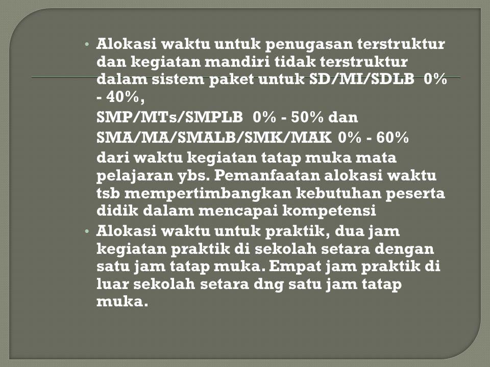 Alokasi waktu untuk penugasan terstruktur dan kegiatan mandiri tidak terstruktur dalam sistem paket untuk SD/MI/SDLB 0% - 40%,