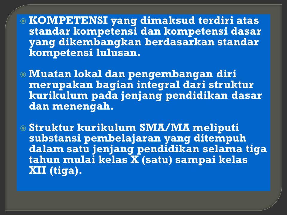 KOMPETENSI yang dimaksud terdiri atas standar kompetensi dan kompetensi dasar yang dikembangkan berdasarkan standar kompetensi lulusan.