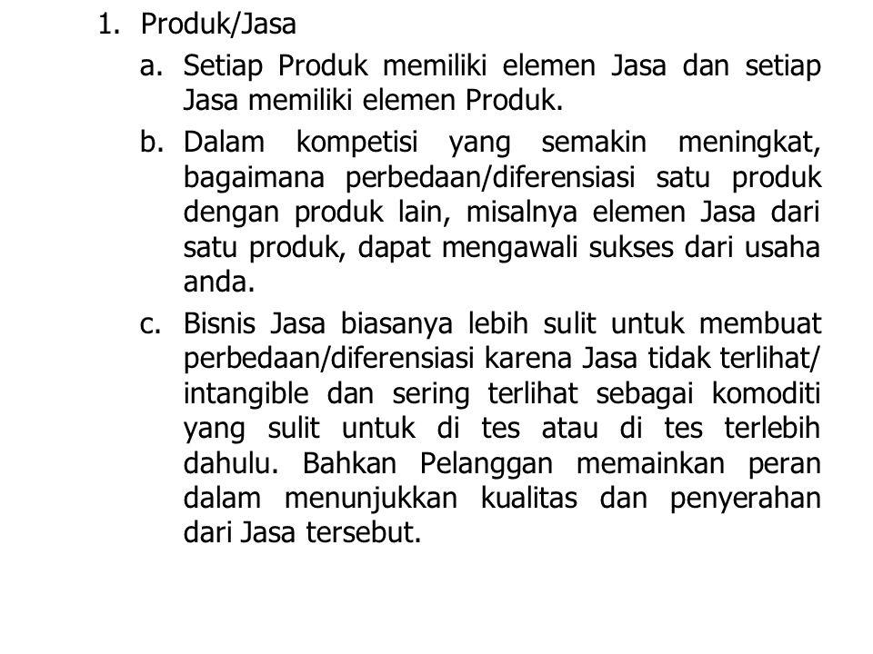 1. Produk/Jasa Setiap Produk memiliki elemen Jasa dan setiap Jasa memiliki elemen Produk.