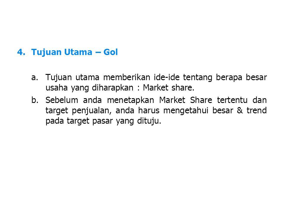 Tujuan Utama – Gol Tujuan utama memberikan ide-ide tentang berapa besar usaha yang diharapkan : Market share.