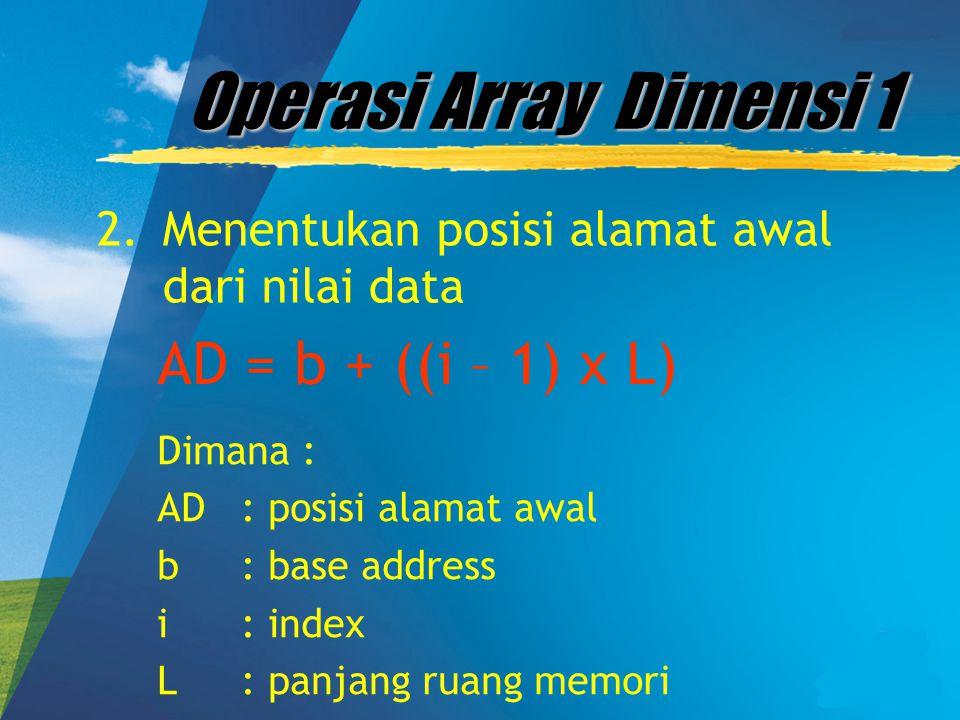 Operasi Array Dimensi 1 AD = b + ((i – 1) x L)