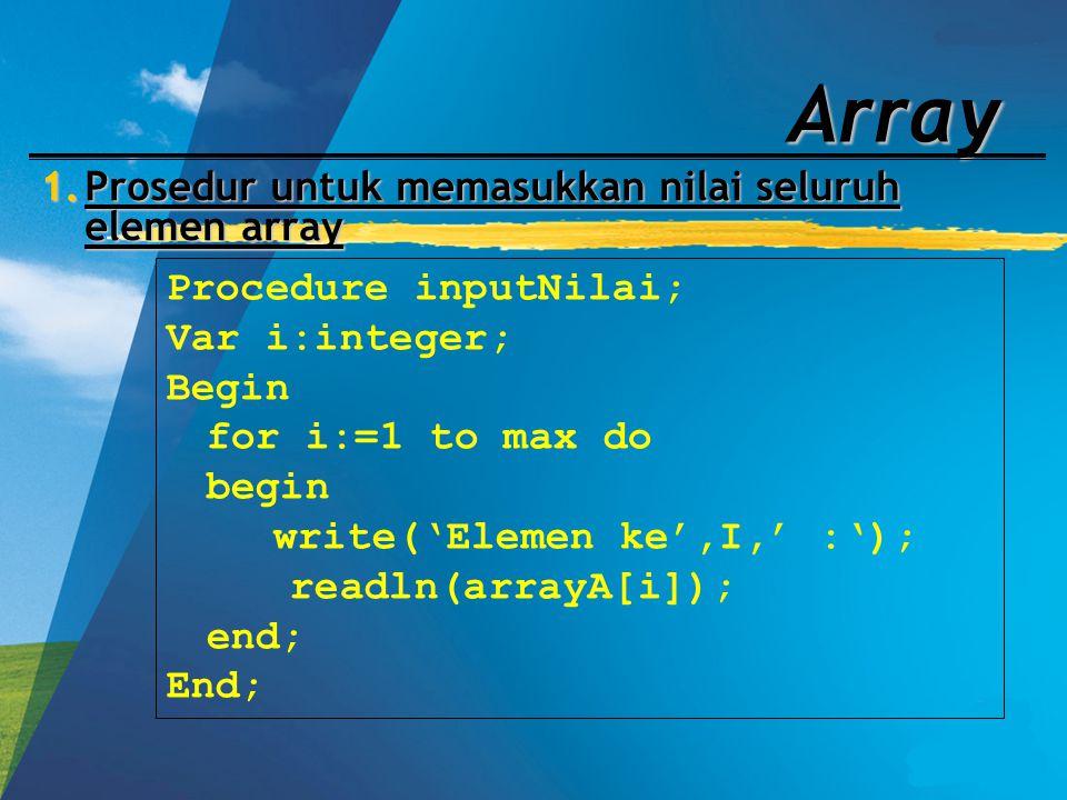 Prosedur untuk memasukkan nilai seluruh elemen array