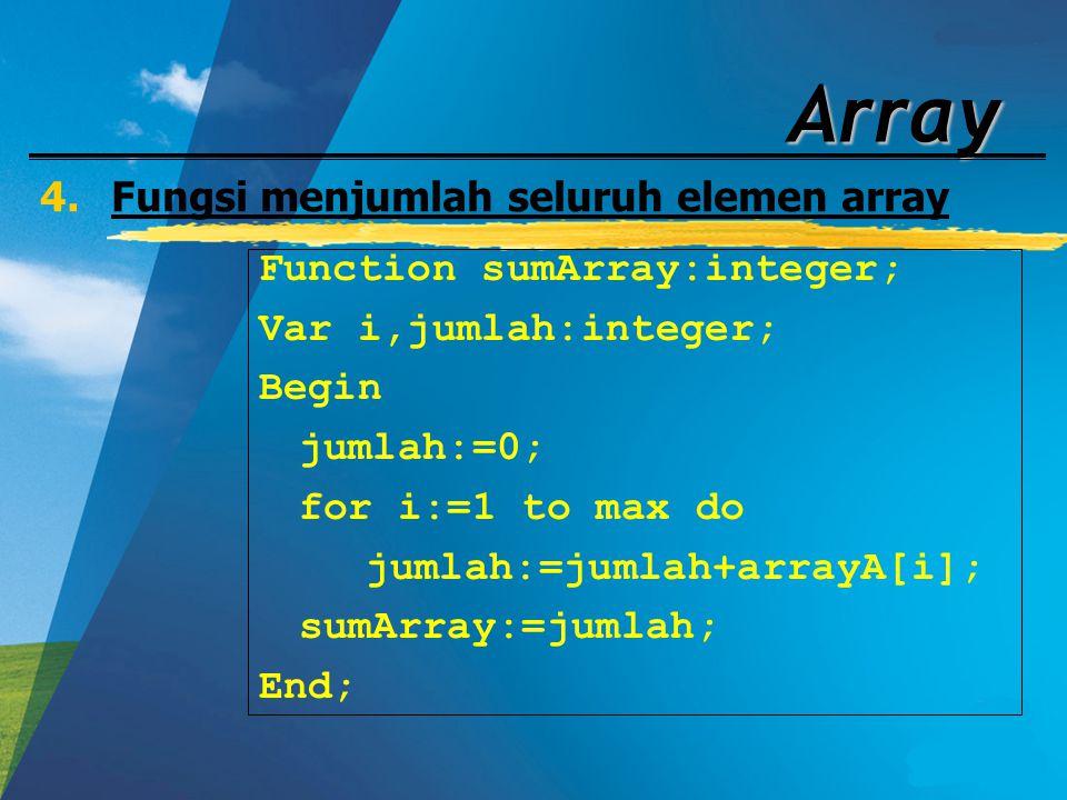 Fungsi menjumlah seluruh elemen array