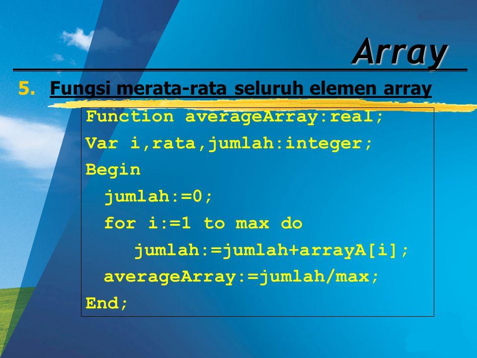 Fungsi merata-rata seluruh elemen array