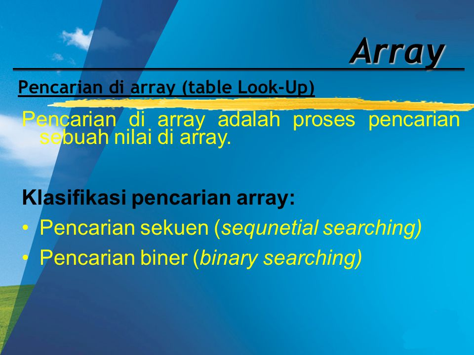 Pencarian di array (table Look-Up)