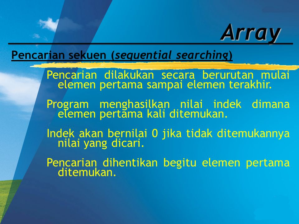 Pencarian sekuen (sequential searching)