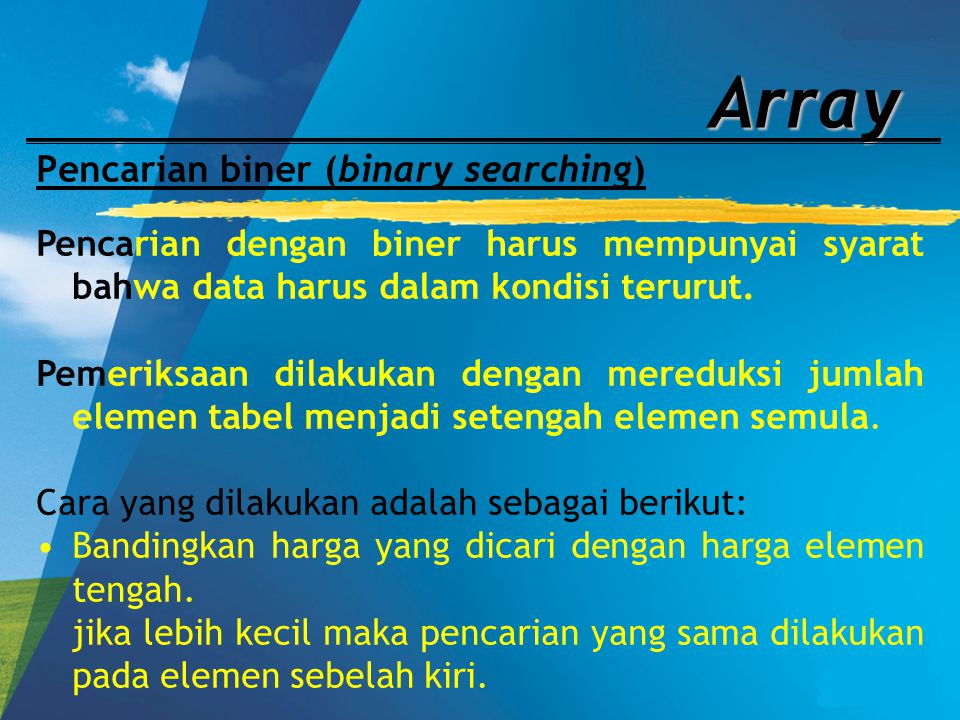 Pencarian biner (binary searching)