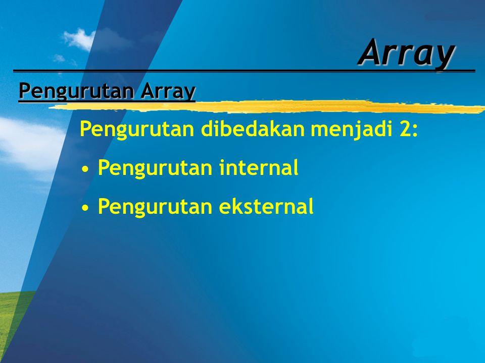 Array Pengurutan Array Pengurutan dibedakan menjadi 2: