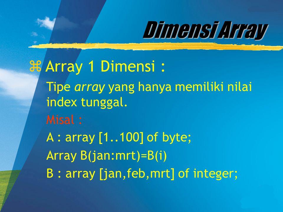 Dimensi Array Array 1 Dimensi :