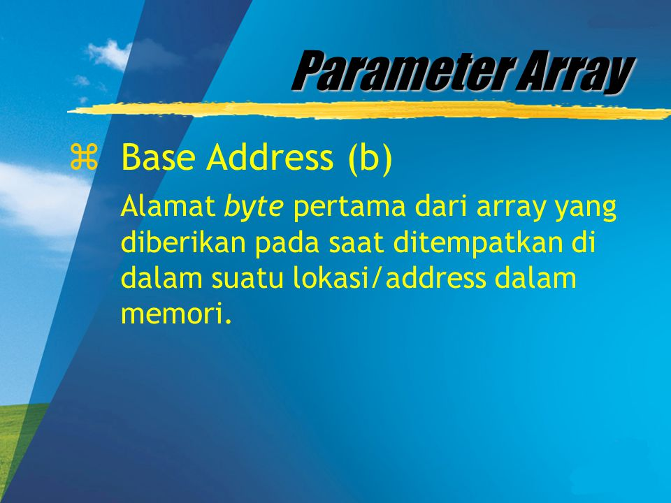 Parameter Array Base Address (b)
