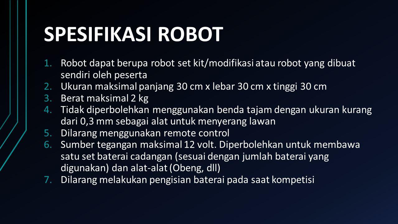 SPESIFIKASI ROBOT Robot dapat berupa robot set kit/modifikasi atau robot yang dibuat sendiri oleh peserta.