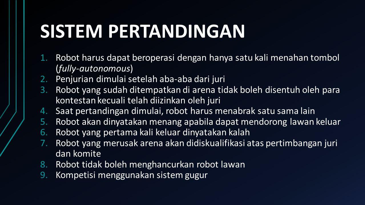 SISTEM PERTANDINGAN Robot harus dapat beroperasi dengan hanya satu kali menahan tombol (fully-autonomous)