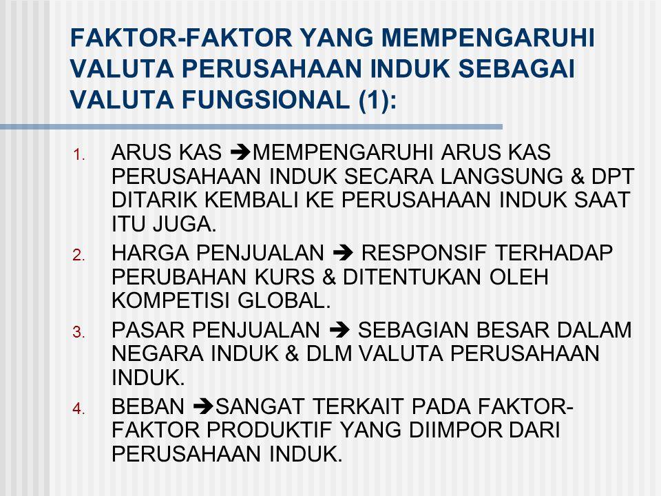 FAKTOR-FAKTOR YANG MEMPENGARUHI VALUTA PERUSAHAAN INDUK SEBAGAI VALUTA FUNGSIONAL (1):