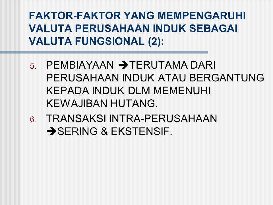 FAKTOR-FAKTOR YANG MEMPENGARUHI VALUTA PERUSAHAAN INDUK SEBAGAI VALUTA FUNGSIONAL (2):