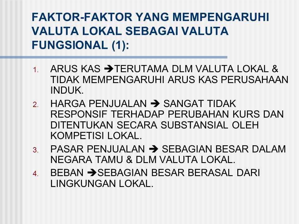 FAKTOR-FAKTOR YANG MEMPENGARUHI VALUTA LOKAL SEBAGAI VALUTA FUNGSIONAL (1):