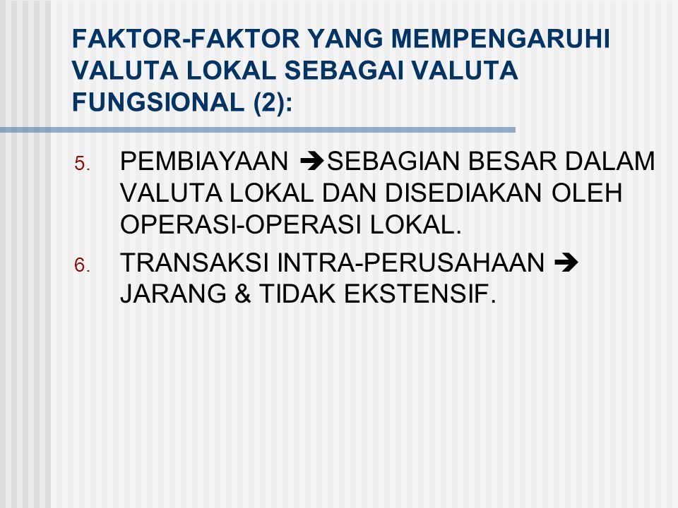 FAKTOR-FAKTOR YANG MEMPENGARUHI VALUTA LOKAL SEBAGAI VALUTA FUNGSIONAL (2):
