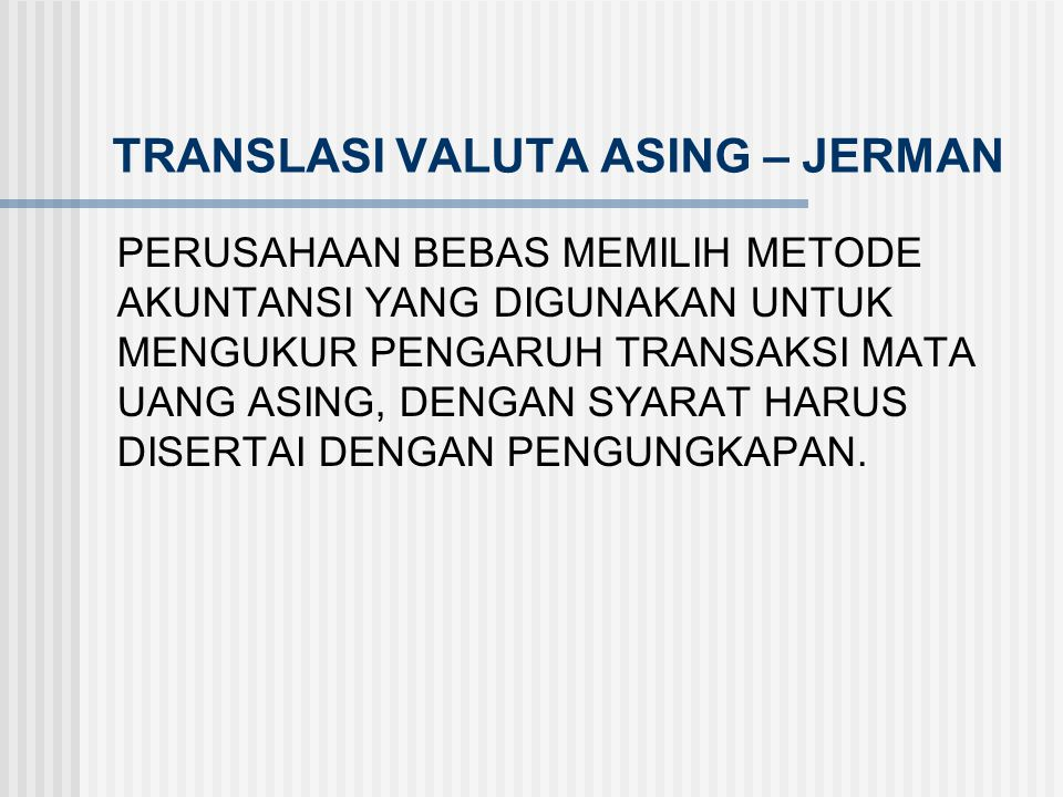 TRANSLASI VALUTA ASING – JERMAN