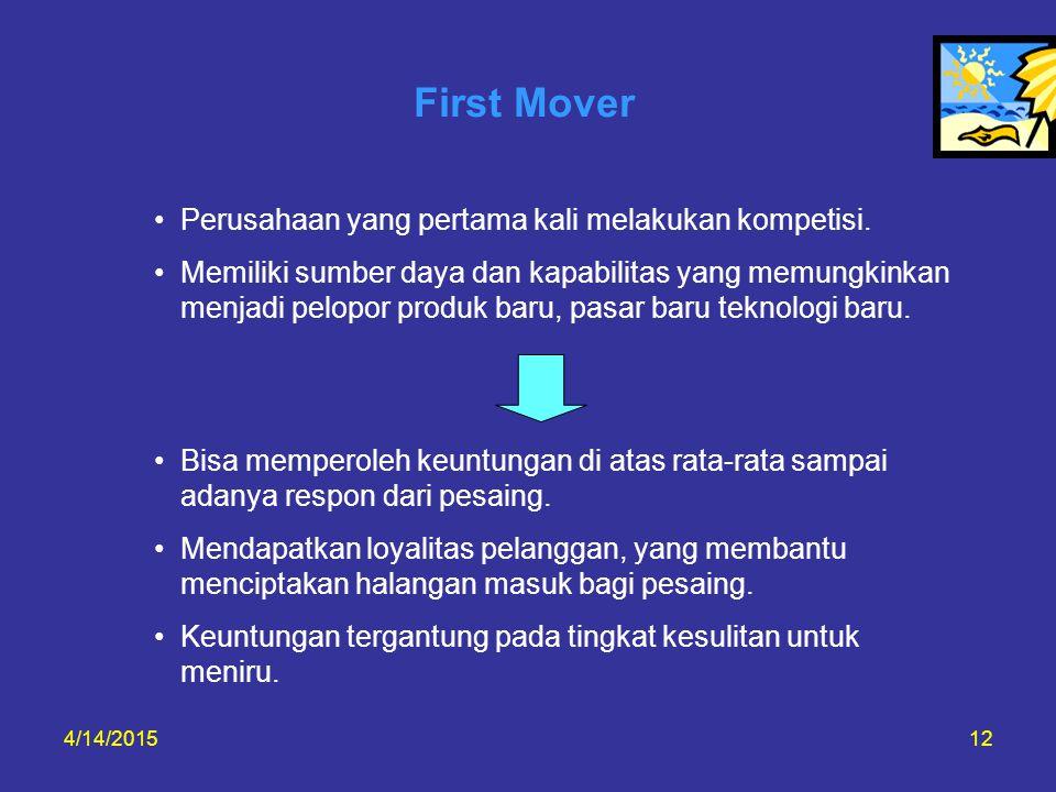 First Mover Perusahaan yang pertama kali melakukan kompetisi.