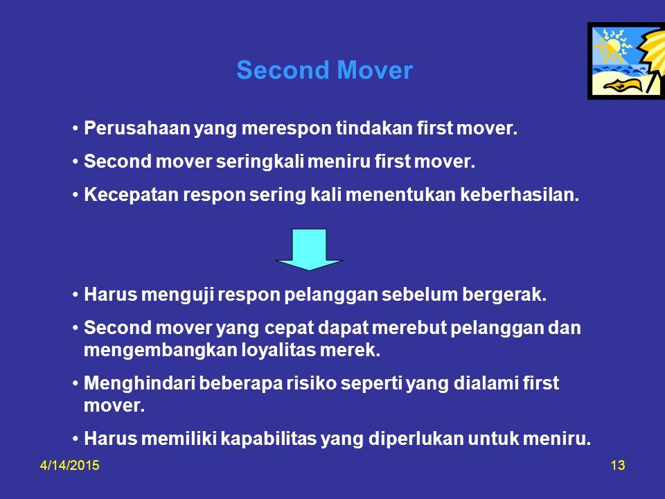 Second Mover Perusahaan yang merespon tindakan first mover.