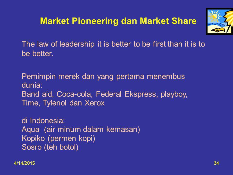 Market Pioneering dan Market Share