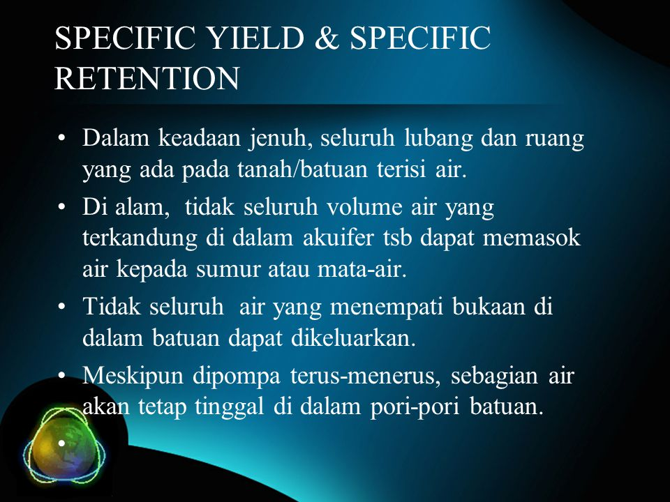 SPECIFIC YIELD & SPECIFIC RETENTION