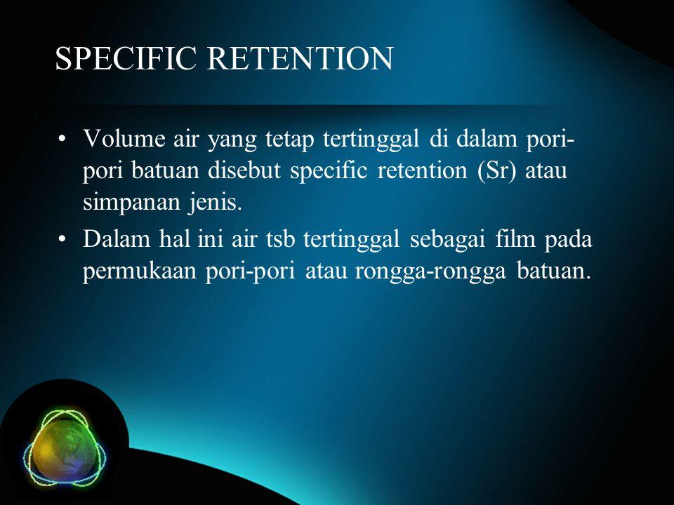 SPECIFIC RETENTION Volume air yang tetap tertinggal di dalam pori-pori batuan disebut specific retention (Sr) atau simpanan jenis.
