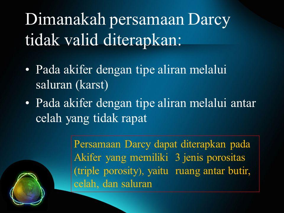 Dimanakah persamaan Darcy tidak valid diterapkan: