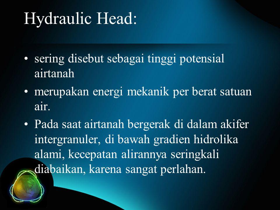 Hydraulic Head: sering disebut sebagai tinggi potensial airtanah