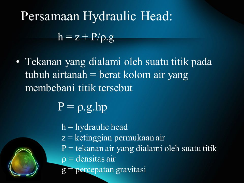 Persamaan Hydraulic Head: