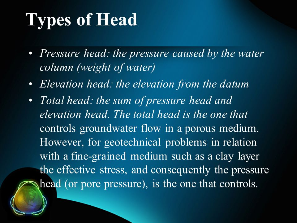 Types of Head Pressure head: the pressure caused by the water column (weight of water) Elevation head: the elevation from the datum.
