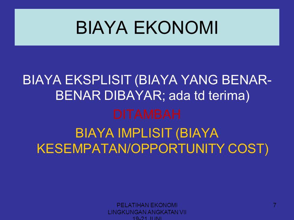 BIAYA EKONOMI BIAYA EKSPLISIT (BIAYA YANG BENAR-BENAR DIBAYAR; ada td terima) DITAMBAH. BIAYA IMPLISIT (BIAYA KESEMPATAN/OPPORTUNITY COST)
