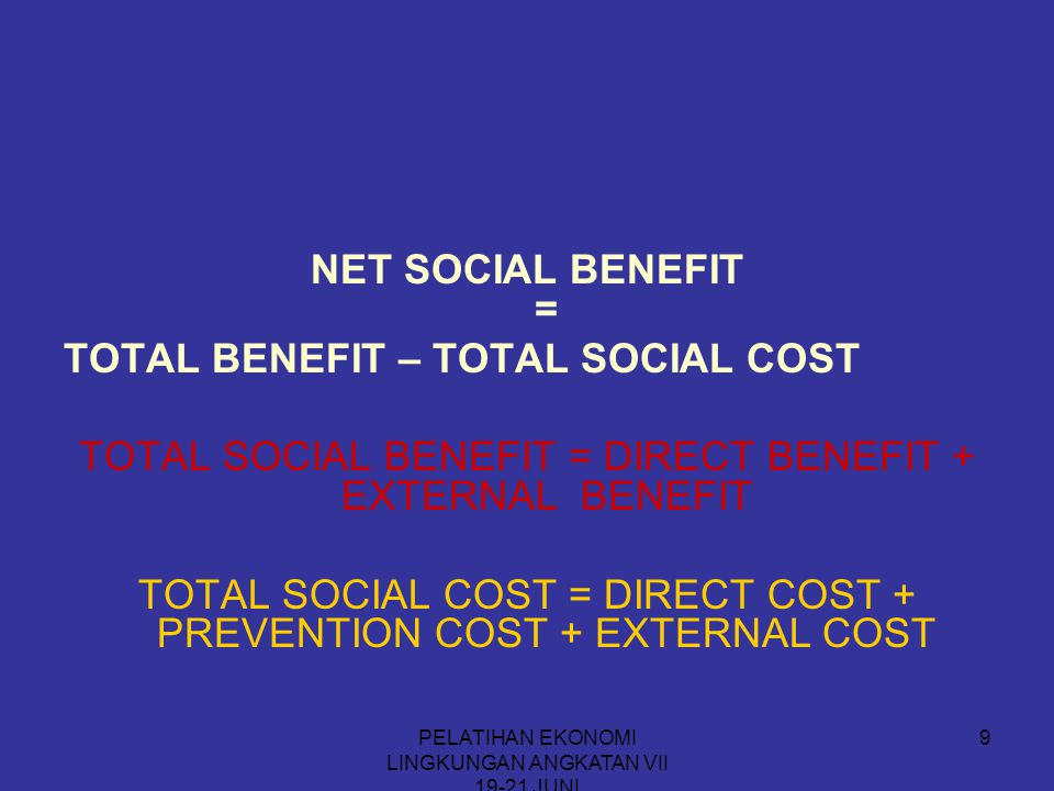 TOTAL BENEFIT – TOTAL SOCIAL COST