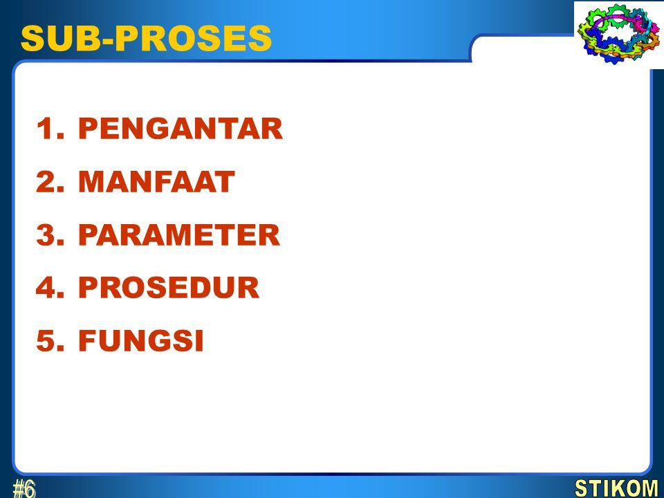 SUB-PROSES #6 1. 2. 3. 4. 5. PENGANTAR MANFAAT PARAMETER PROSEDUR