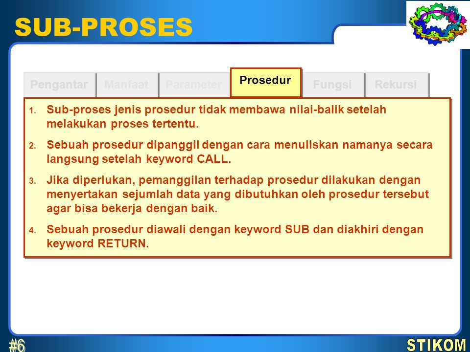 SUB-PROSES #6 STIKOM Prosedur Pengantar Manfaat Parameter Fungsi