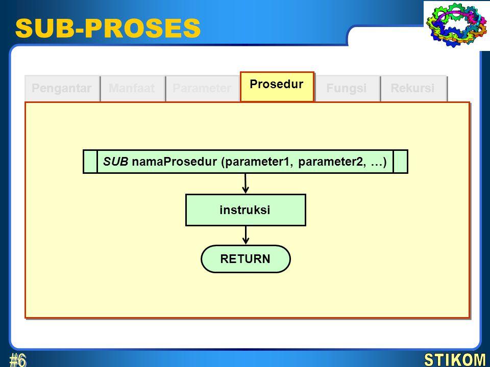 SUB namaProsedur (parameter1, parameter2, …)