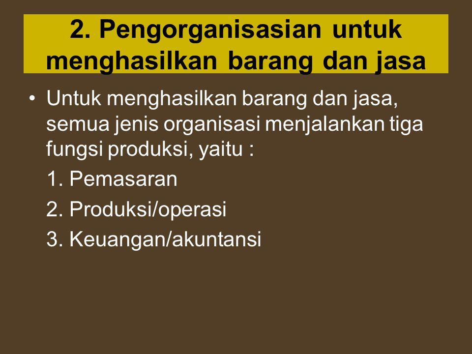 2. Pengorganisasian untuk menghasilkan barang dan jasa