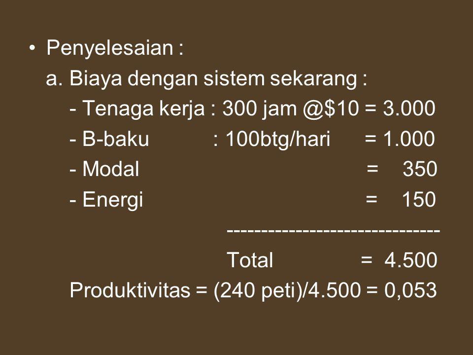 Penyelesaian : a. Biaya dengan sistem sekarang : - Tenaga kerja : 300 jam @$10 = 3.000. - B-baku : 100btg/hari = 1.000.