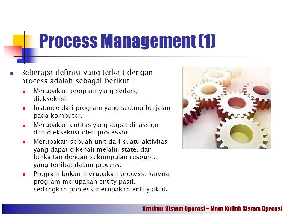 Process Management (1) Beberapa definisi yang terkait dengan process adalah sebagai berikut : Merupakan program yang sedang dieksekusi.