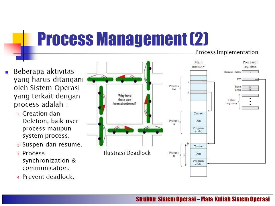 Process Management (2) Process Implementation. Beberapa aktivitas yang harus ditangani oleh Sistem Operasi yang terkait dengan process adalah :