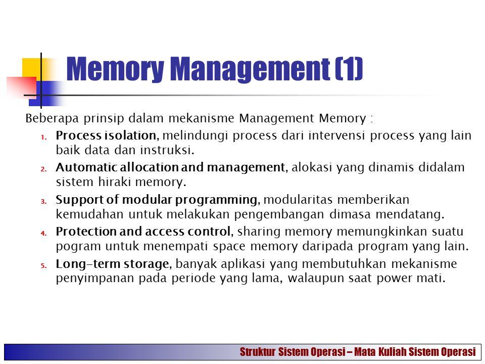 Memory Management (1) Beberapa prinsip dalam mekanisme Management Memory :