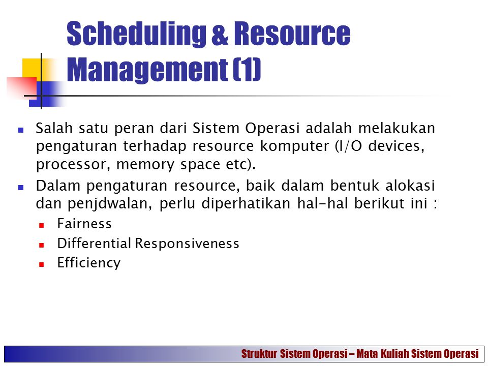 Scheduling & Resource Management (1)