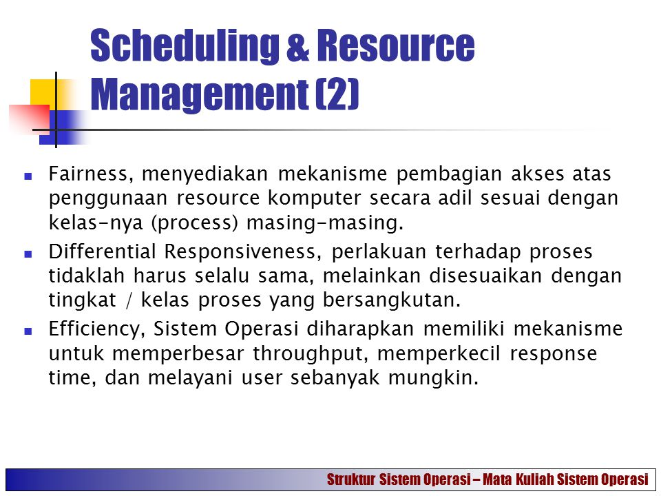 Scheduling & Resource Management (2)