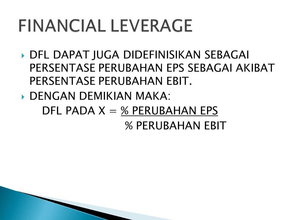 FINANCIAL LEVERAGE DFL DAPAT JUGA DIDEFINISIKAN SEBAGAI PERSENTASE PERUBAHAN EPS SEBAGAI AKIBAT PERSENTASE PERUBAHAN EBIT.