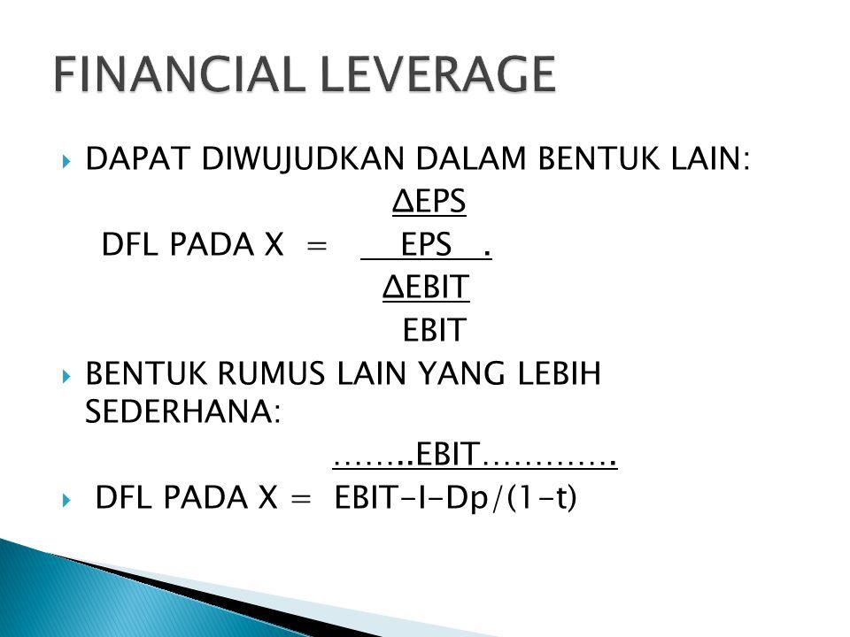 FINANCIAL LEVERAGE DAPAT DIWUJUDKAN DALAM BENTUK LAIN: ΔEPS