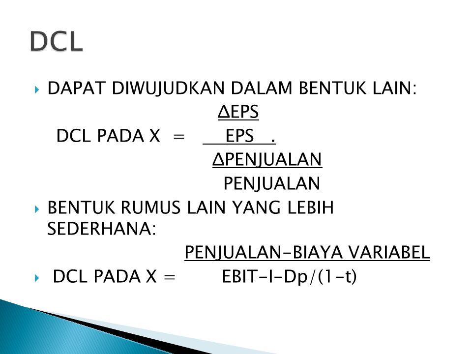 DCL DAPAT DIWUJUDKAN DALAM BENTUK LAIN: ΔEPS DCL PADA X = EPS .