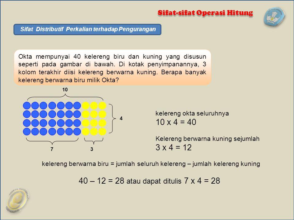 Sifat Distributif Perkalian terhadap Pengurangan
