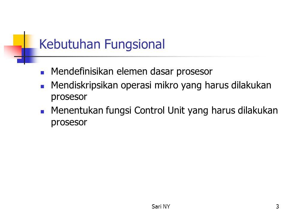 Kebutuhan Fungsional Mendefinisikan elemen dasar prosesor