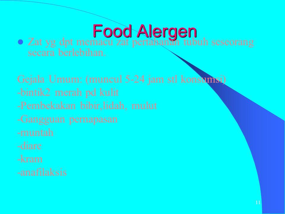 Food Alergen Zat yg dpt memacu zat pertahanan tubuh seseorang secara berlebihan. Gejala Umum: (muncul 5-24 jam stl konsumsi)